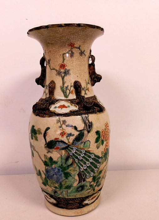 Vase (1) - Famille verte, Nanking - Earthenware - China - First half 20th century
