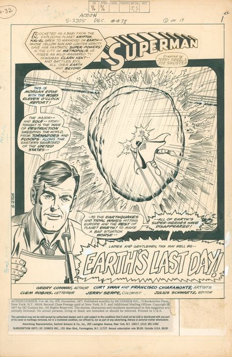 Action Comics  Superman - Vol 1 #478 - Original Artwork by Curt Swan, Frank Chiaramonte - Page volante - EO - (1977)