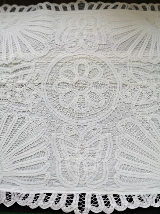 Cushion, bed quadrant, lace embroidery. Never used.