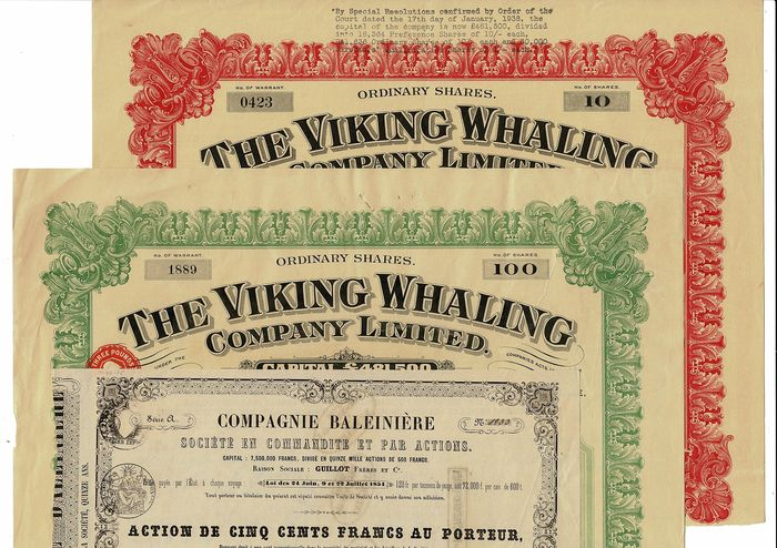 3x Whaling - The Viking Whaling 10 & 100 shares - Compagnie Baleinière - Paper