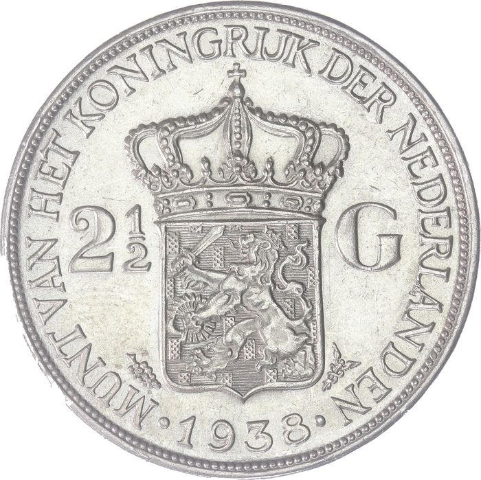 The Netherlands - 2½ Gulden 1938 grof haar Wilhelmina - Silver
