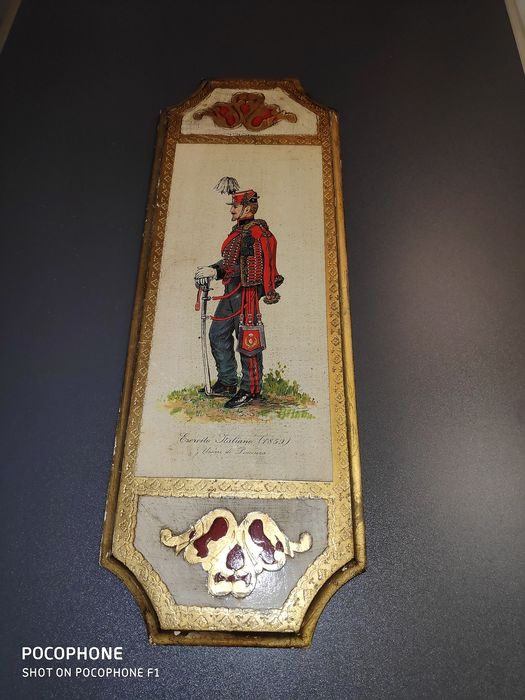 Painting, Italian Soldier 1859, on wood / varnished (1) - Wood