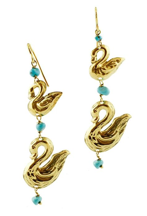 18 kt. Yellow gold - Earrings - Turquoises