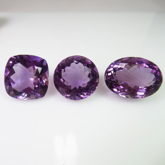 3 pcs Purple Amethyst - 27.30 ct