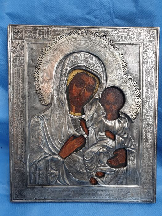 Icon, Mother of God, oklad (1) - Pear, Silver - Late 19th century