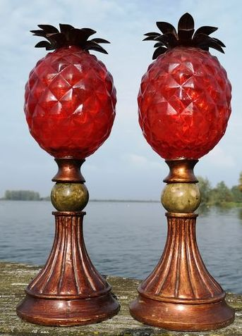 Set of Decorative Pineapples (2) - Glass, Iron (cast/wrought)