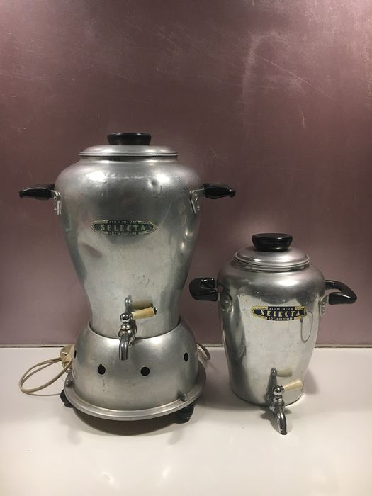 selecta - 2 cafetieres and a hot plate (2) - Aluminium