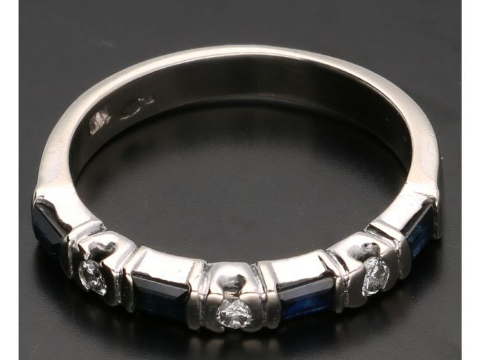 14 kt. White gold - Ring - 0.06 ct Sapphire - Diamond