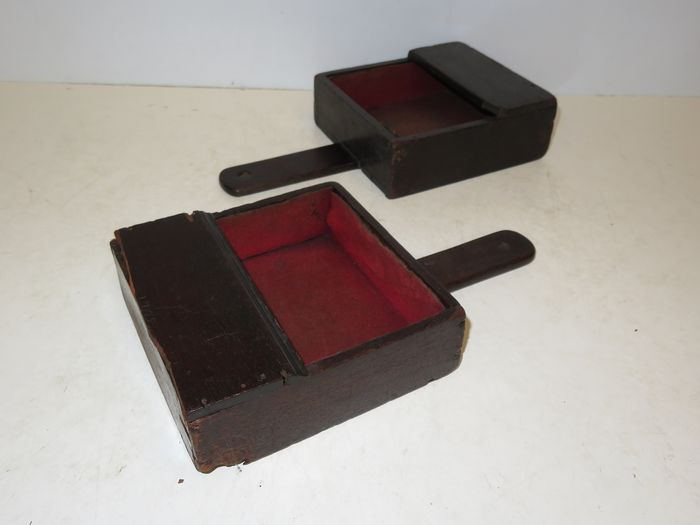 2x Early church offetory wooden boxes  - Wood