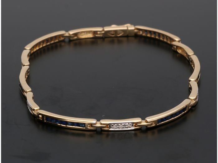 14 kt. Yellow gold - Bracelet - 0.09 ct Sapphire - Diamond