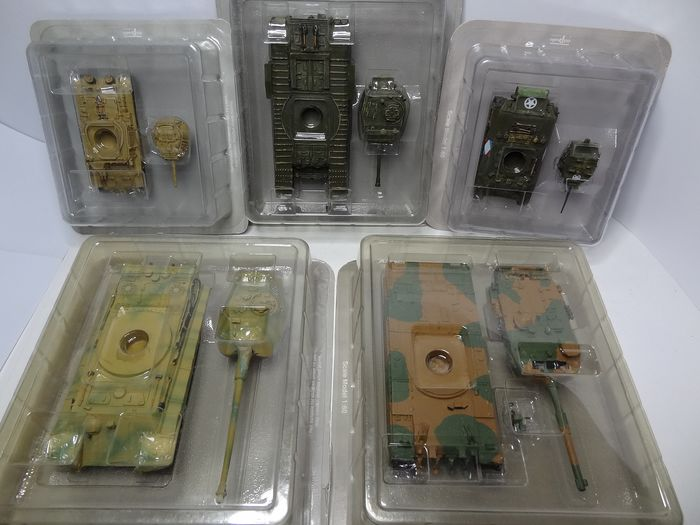 Del Prado - Lotto di 5 carri armati sigillati - - - armored vehicles  M 3 Stuart - MK IV Churchill - M 13/40  - Type 90 - Tiger II  Königstiger  - 1940-1949 - vari