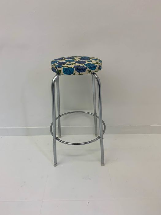 Stool, with colorful seat and floral print