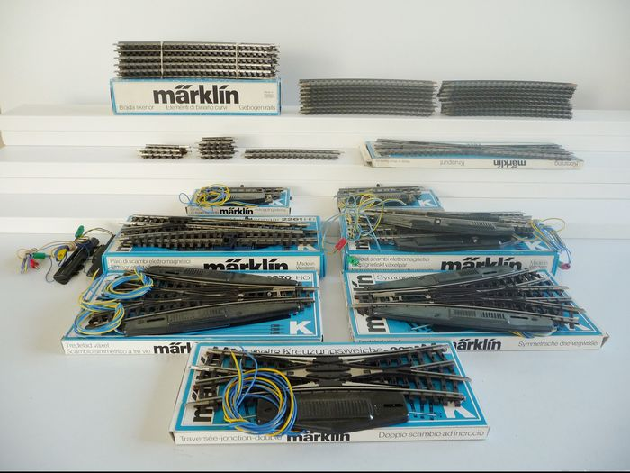 Märklin H0 - Tracks - 45-part lot K-rail full profile, rails, 7 electromagnetic points and electrical release rails