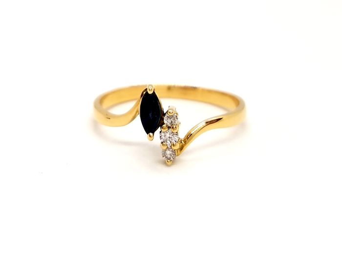 18 kts. Yellow gold - Ring Sapphire - Diamond