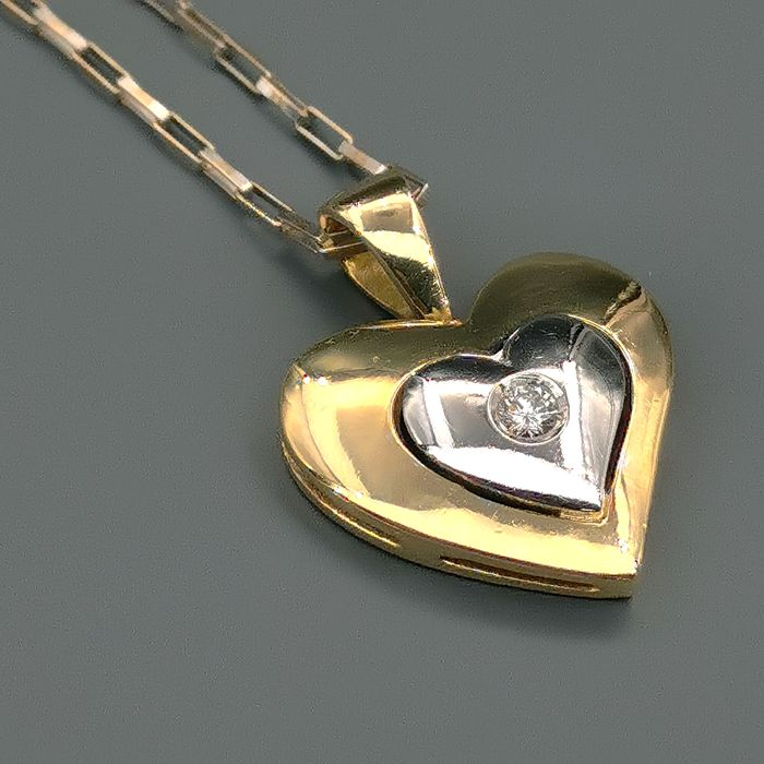18 kt. White gold, Yellow gold - Necklace with pendant - 0.09 ct Diamond