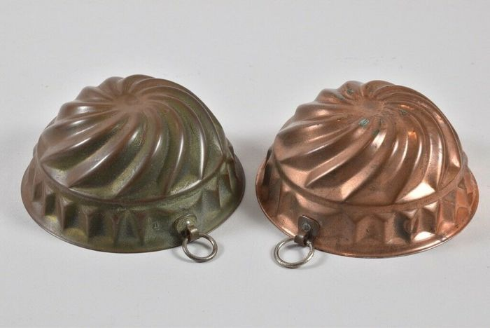 Antique tinned copper molds (2) - Copper