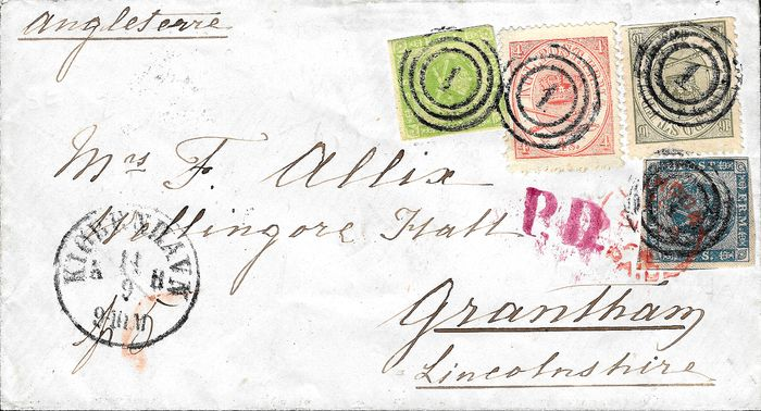 Denemarken 1854/1864 - 2 skill blue and 8 skill green imperforate, 4 skill pink-red and 16 skill olive on letter - Yvert 3/5/13/15