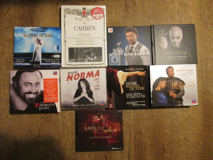 various artists in Classic - Multiple artists - 9 box sets Opera music - Mission - Bolero - Norma - Pavarotti etc. - Multiple titles - CD Box set - 2000/2014