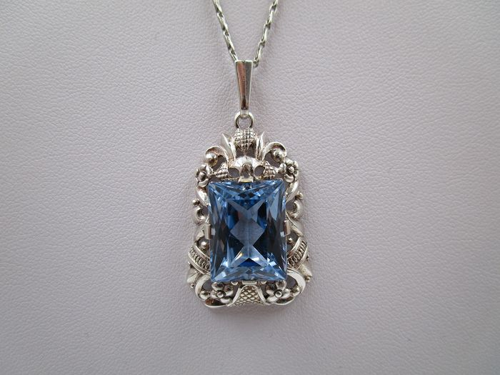 Art Deco Collier  - 835 Silver - Necklace with pendant - 11.26 ct - Aquamarine