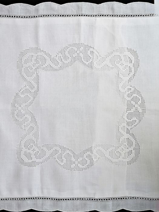 Cushion, bed quadrant, with fil tiré embroidery. Never used.