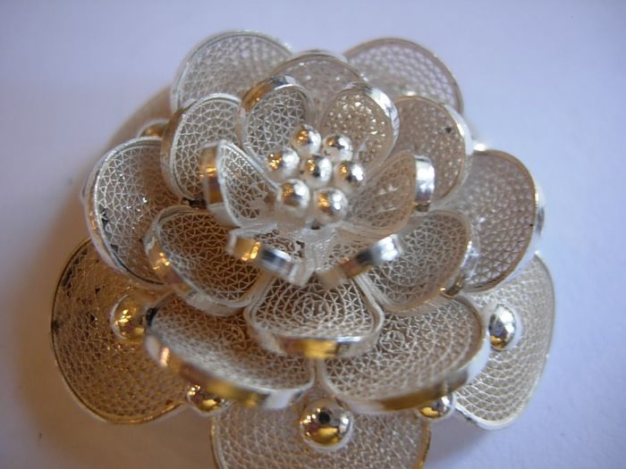 800 Silver - Brooch, Flower