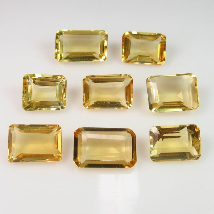 8 pcs Yellow Citrine - 24.55 ct
