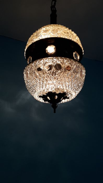 Heavy classic French hall lamp, - crystal glass, bronze, copper.