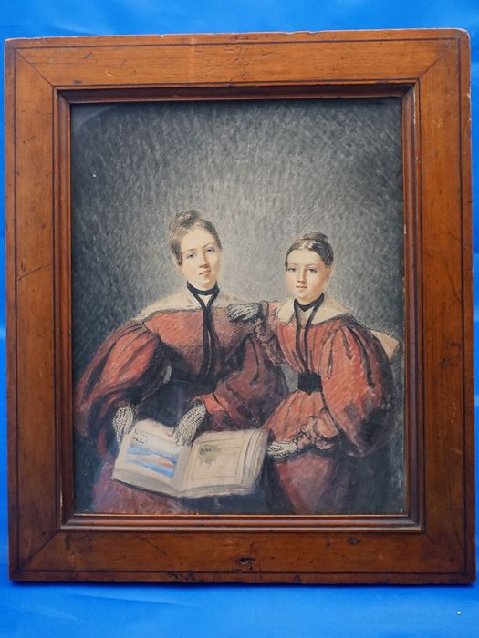 Portrait of two young women (1) - Watercolor - Late 19th century
