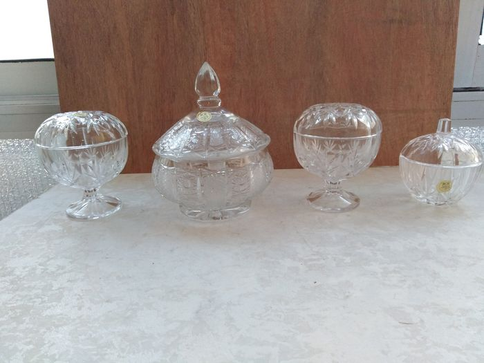 Spherical crystal cover jars. (4) - Crystal