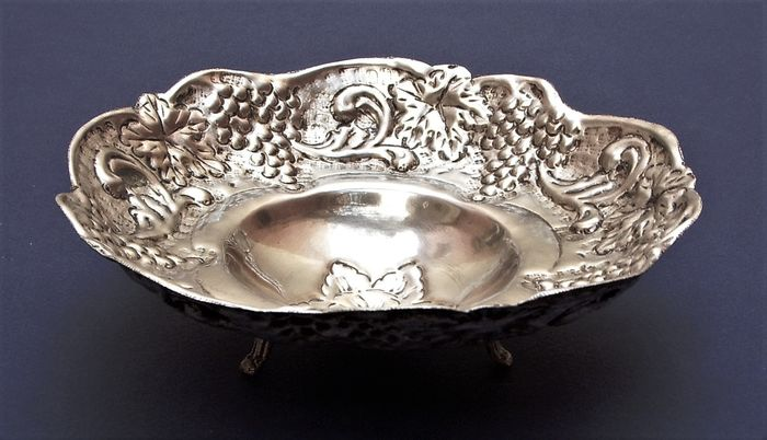 Antique Hand Hammered Embossed Fruit or Salad Bowl - Silverplate