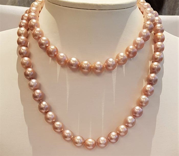 NO RESERVE PRICE - 925 Silver - 10x11mm Beautiful Colour Edison Pearls - Necklace