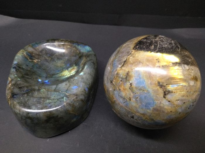 2 labradorite crystal quartz  pintray ashtray shpere - 100×130×90 mm - 1.804 kg - (2)