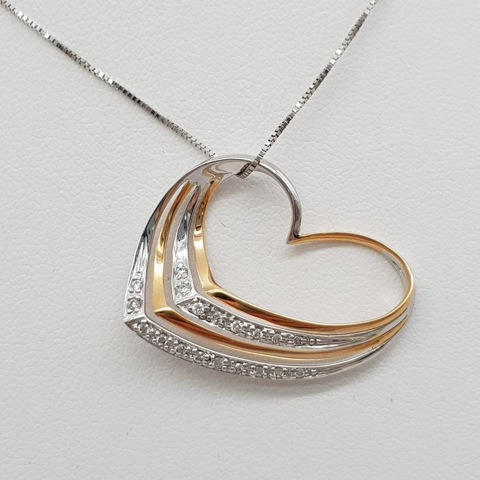 18 kt. Pink gold, White gold - Necklace with pendant - 0.10 ct Diamond