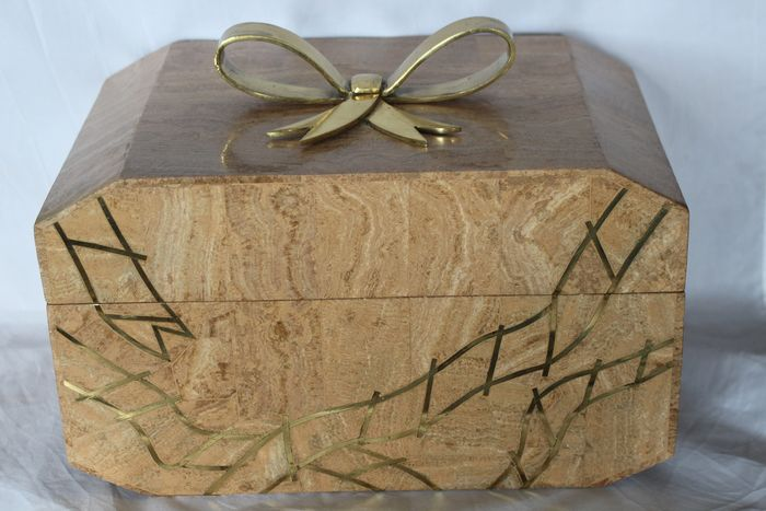 Large marble box / chest / jewelry box - Brass, Marble, Velvet