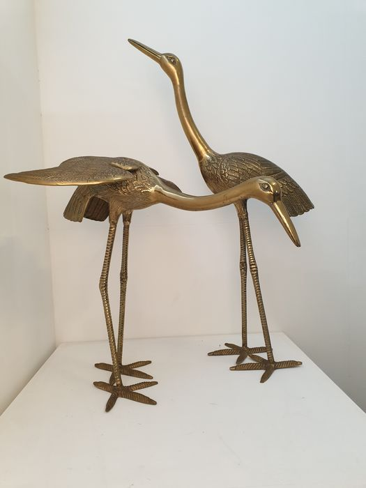 Two bronze birds - 74 and 47 cm high