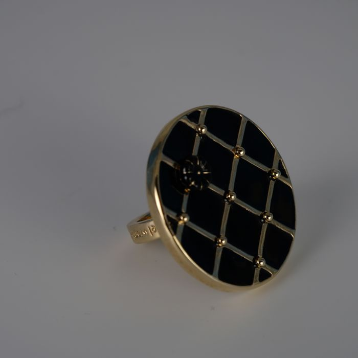 Marcel Wanders - Gold Tone & Black Enamel Chequer Style Ring