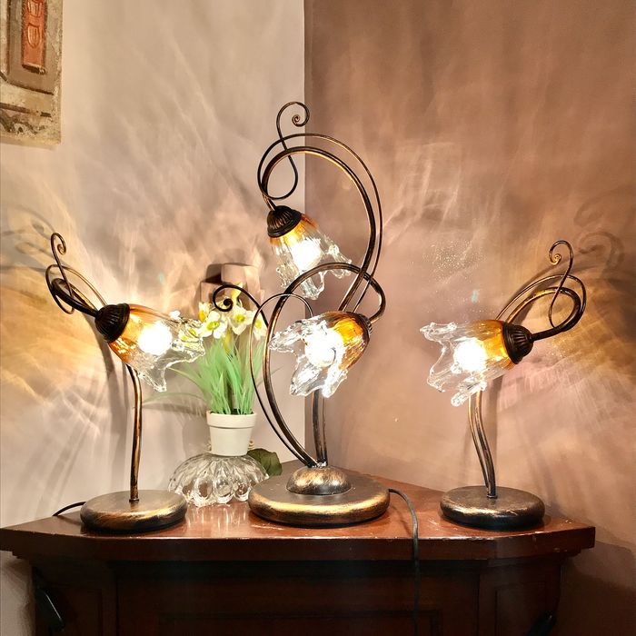Maurys62  - Selection  - Three of lamps (3) - Expressionist - Crystal, Iron (cast/wrought)