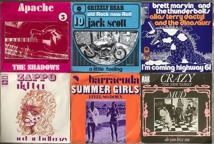 """Beach Boys, Barracuda -  Creedence Clearwater Revival - Multiple artists - Multiple titles - 45 rpm Single, EP-10""""inch - 1968/1974"""