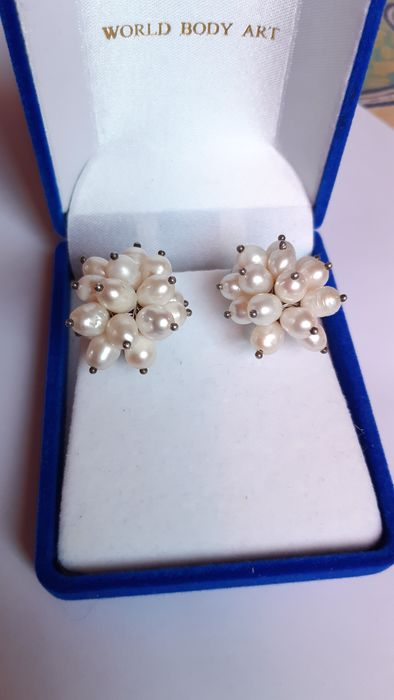 vintage  - 935 Silver - Earrings Pearl