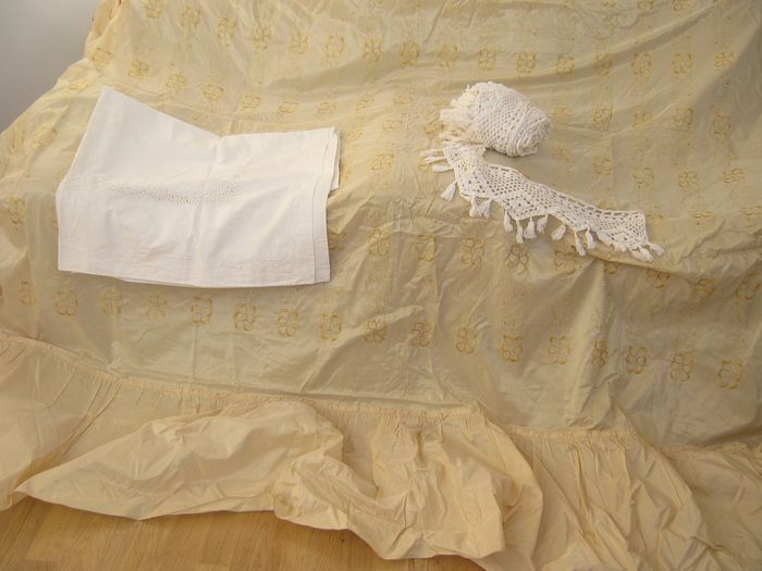 Cream satin bedspread, Hand embroidery pillow cover, France cotton crochet (3) - Cotton, Satin - 1800
