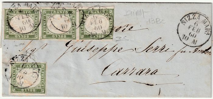 Sardinië 1860 - 5 cents olive green, strip of 3 and single piece on letter from Nice to Carrara - Sassone N. 13Bc