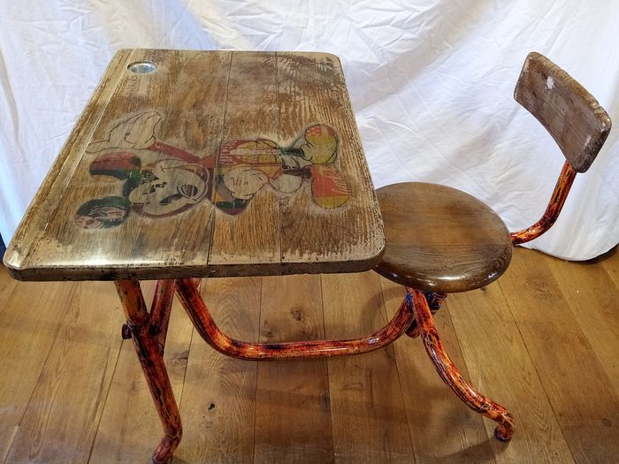 Table - old school bench, completely restored - Wood- Oak