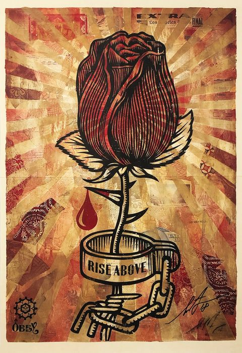 Shepard Fairey (OBEY) - 'Rose Shackle' (SIGNED Supply & Demand book insert)