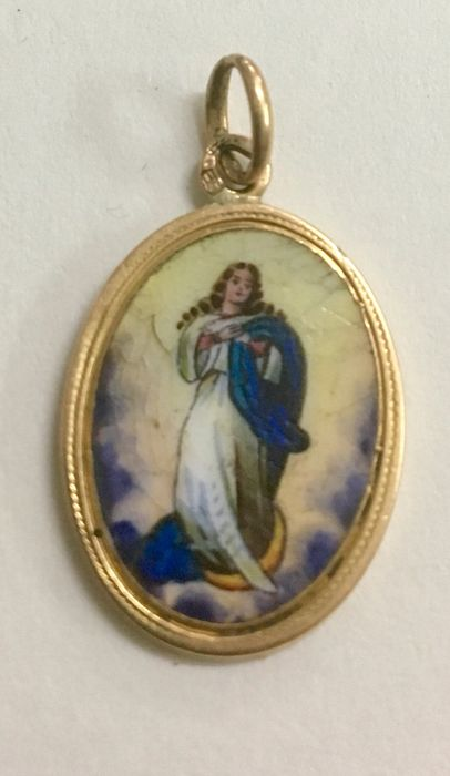 Pendant - Gold 19.2 K - enameled porcelain