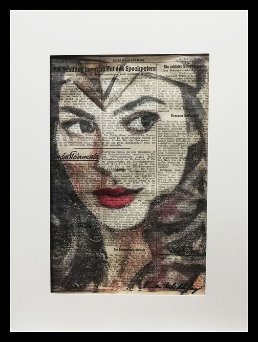 WONDER WOMAN - Original artwork on a newspaper from 1952 - First edition - (2019)