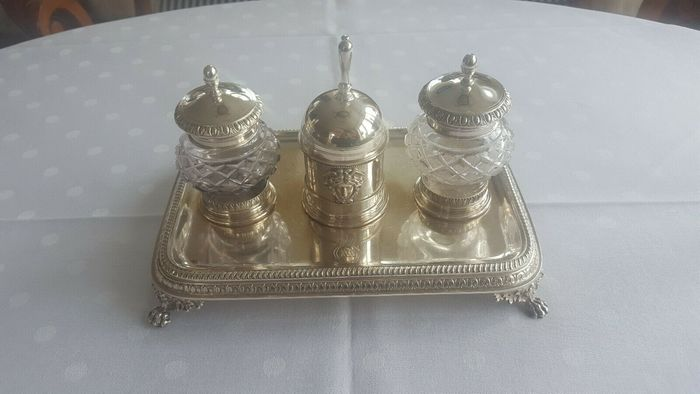 Inkstand, Writing set silver king Karl XV 1827, rarity - .830 silver - Adolf Zethelius  - Sweden - First half 19th century