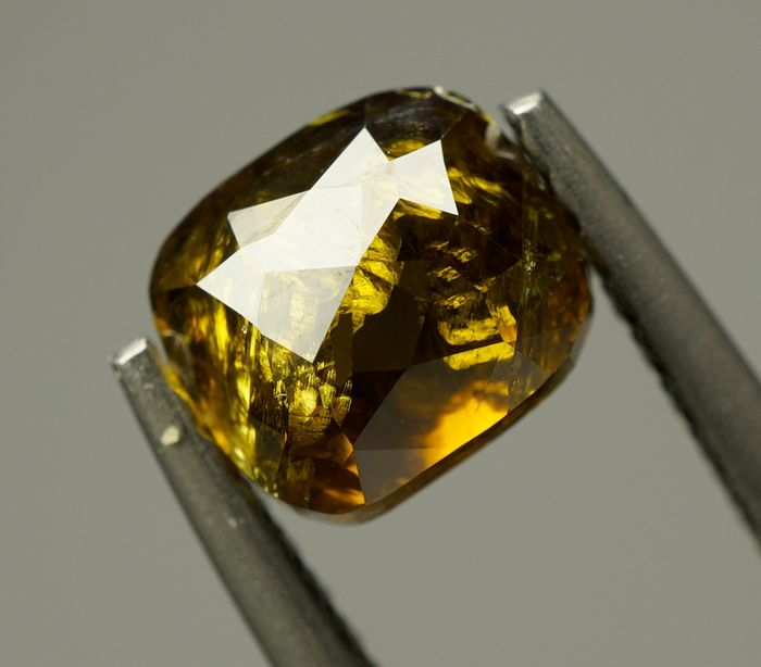 1 pcs Diamond - 1.23 ct - Cushion  - Fancy Yellowish Greenish Brown - I3 - No Reserve