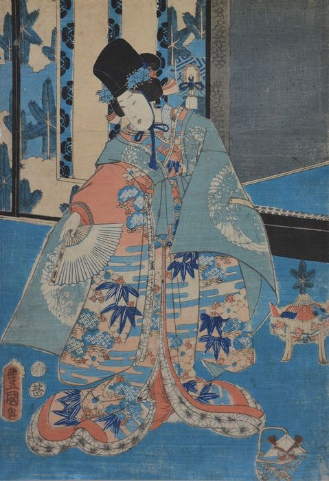 Original woodblock print - Utagawa Kunisada (1786-1865) - Beauty with fan - 1863