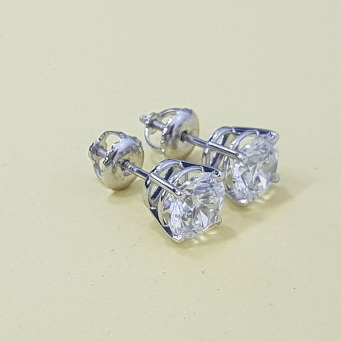14 kt. White gold - Earrings Diamond