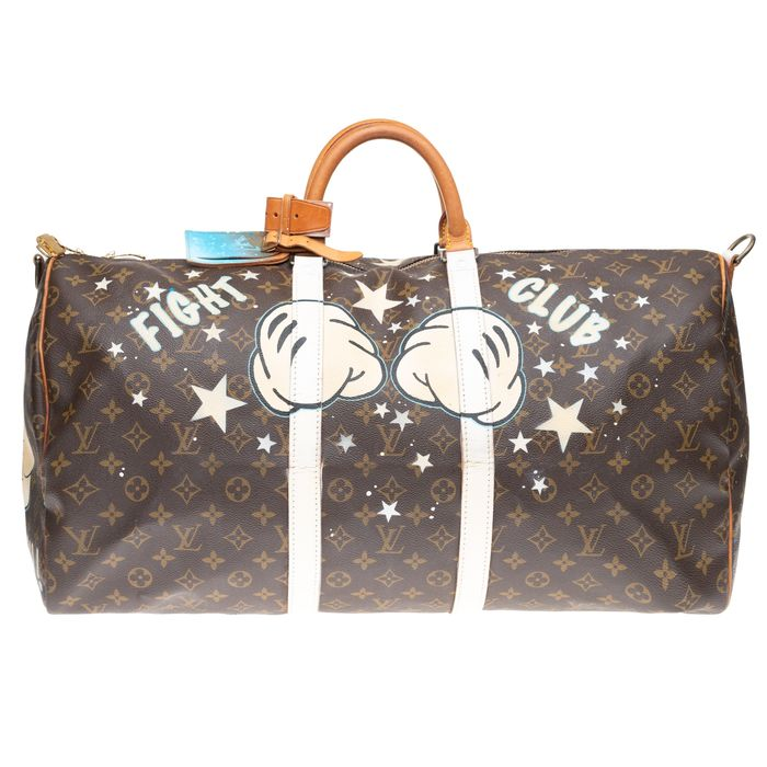 Louis Vuitton - Customized Keepall 55 Monogram  'Mickey Fight Club II' by PatBo Sac de week-end